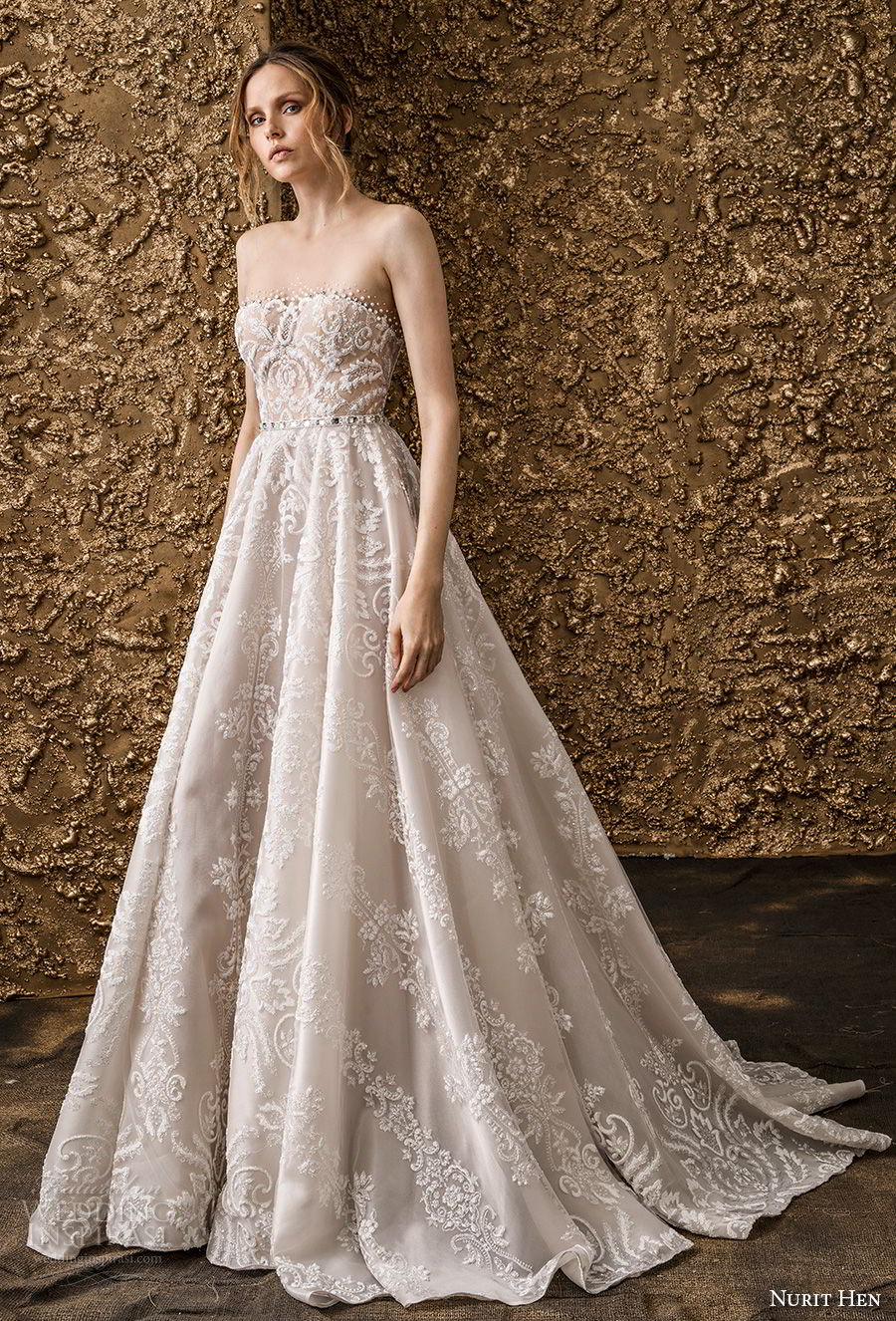 nurit hen 2018 bridal strapless straight across neckline full embellishment romantic a  line wedding dress sweep train (1) mv