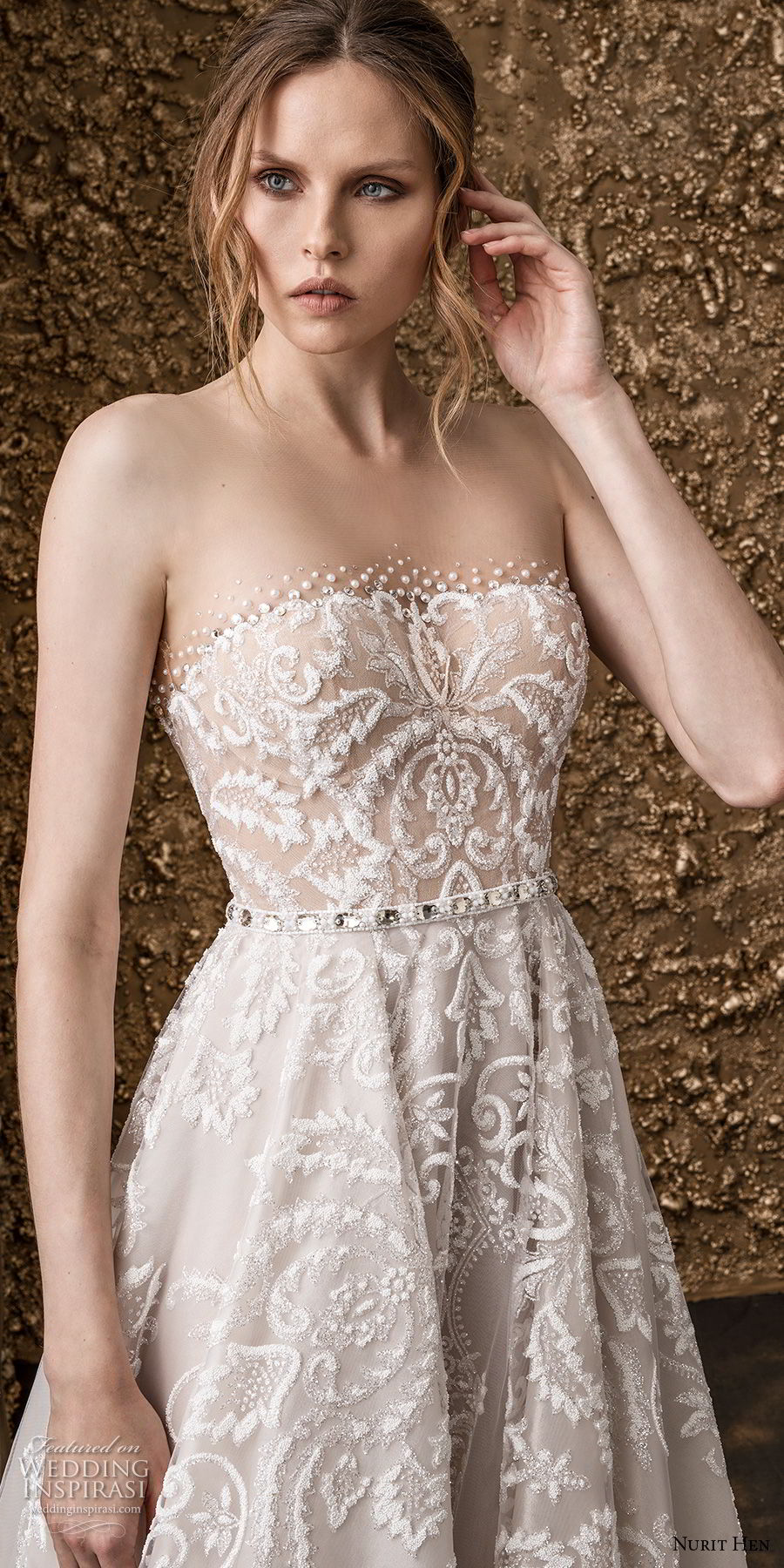 nurit hen 2018 bridal strapless straight across neckline full embellishment romantic a  line wedding dress sweep train (1) zv