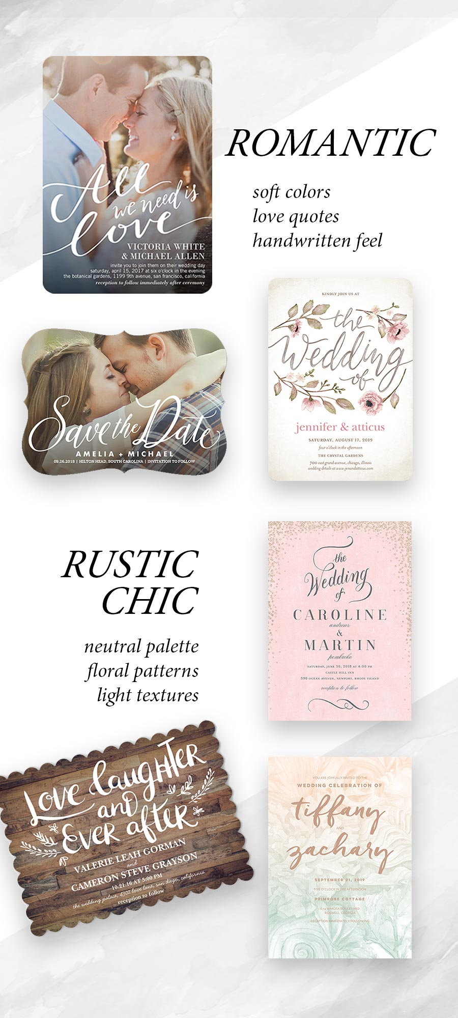 shutterfly wedding invitation save the date cards romantic rustic chic vintage setting wedding styles