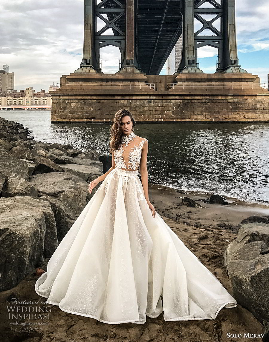 solo merav 2018 bridal cap sleeves high neck deep v neck heavily embellished bodice princess a  line wedding dress sheer button back chapel train (1) mv