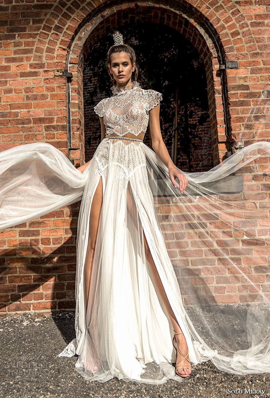 solo merav 2018 bridal cap sleeves high neck heavily embellished bodice crop top double slit skirt romantic a  line wedding dress keyhole back chapel train (16) mv