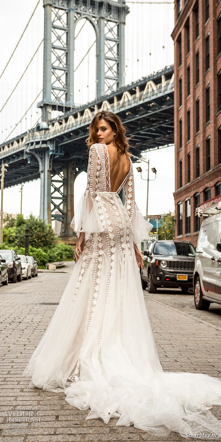 solo merav 2018 bridal long lantern sleeves v neck full embellishment bohemian mermaid wedding dress open back medium train (5) bv