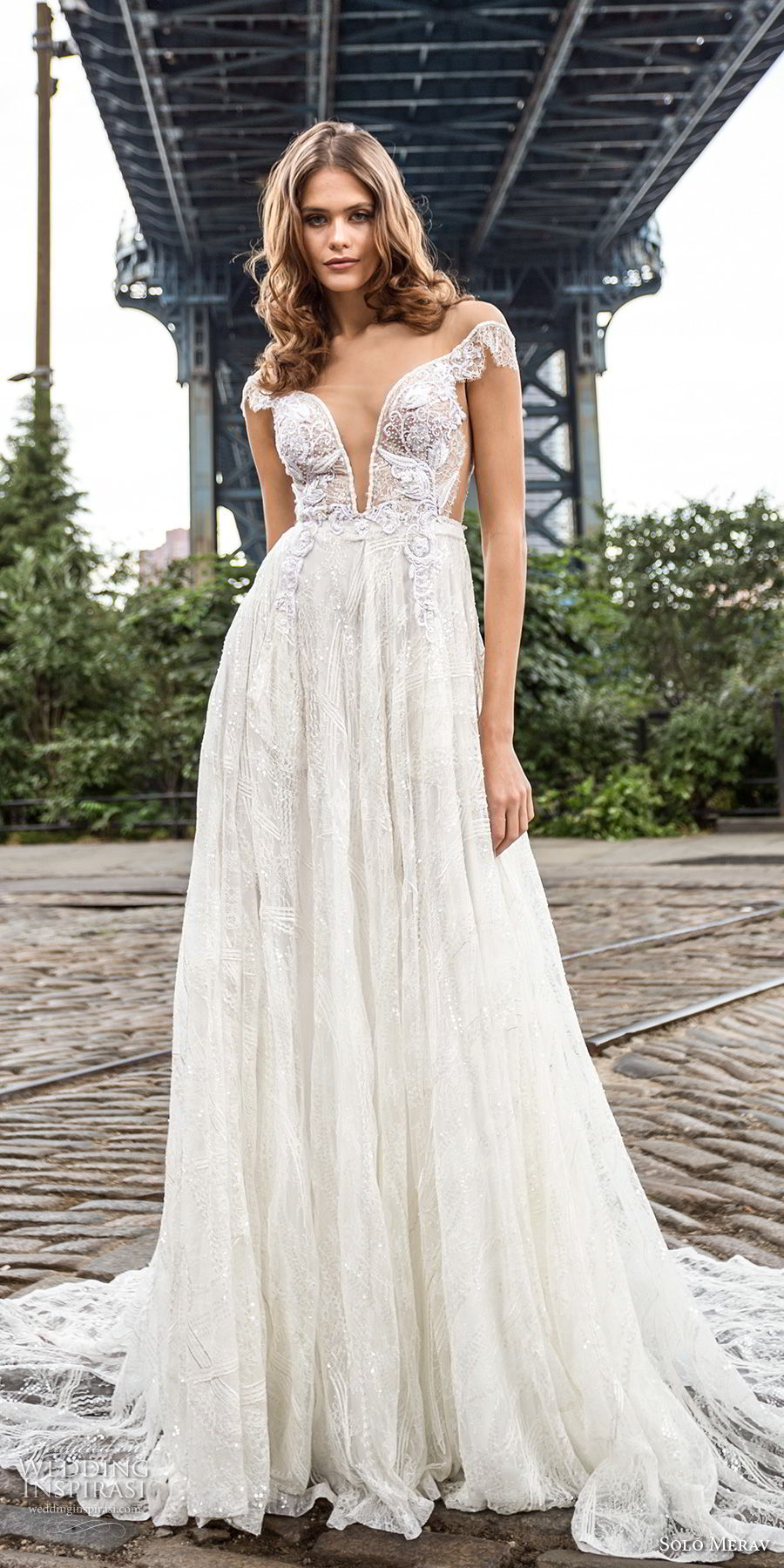 solo merav 2018 bridal off the shoulder short sleeves deep plunging sweetheart neckline heavily embellished bodice romantic a  line wedding dress open scoop back chapel train (12) mv