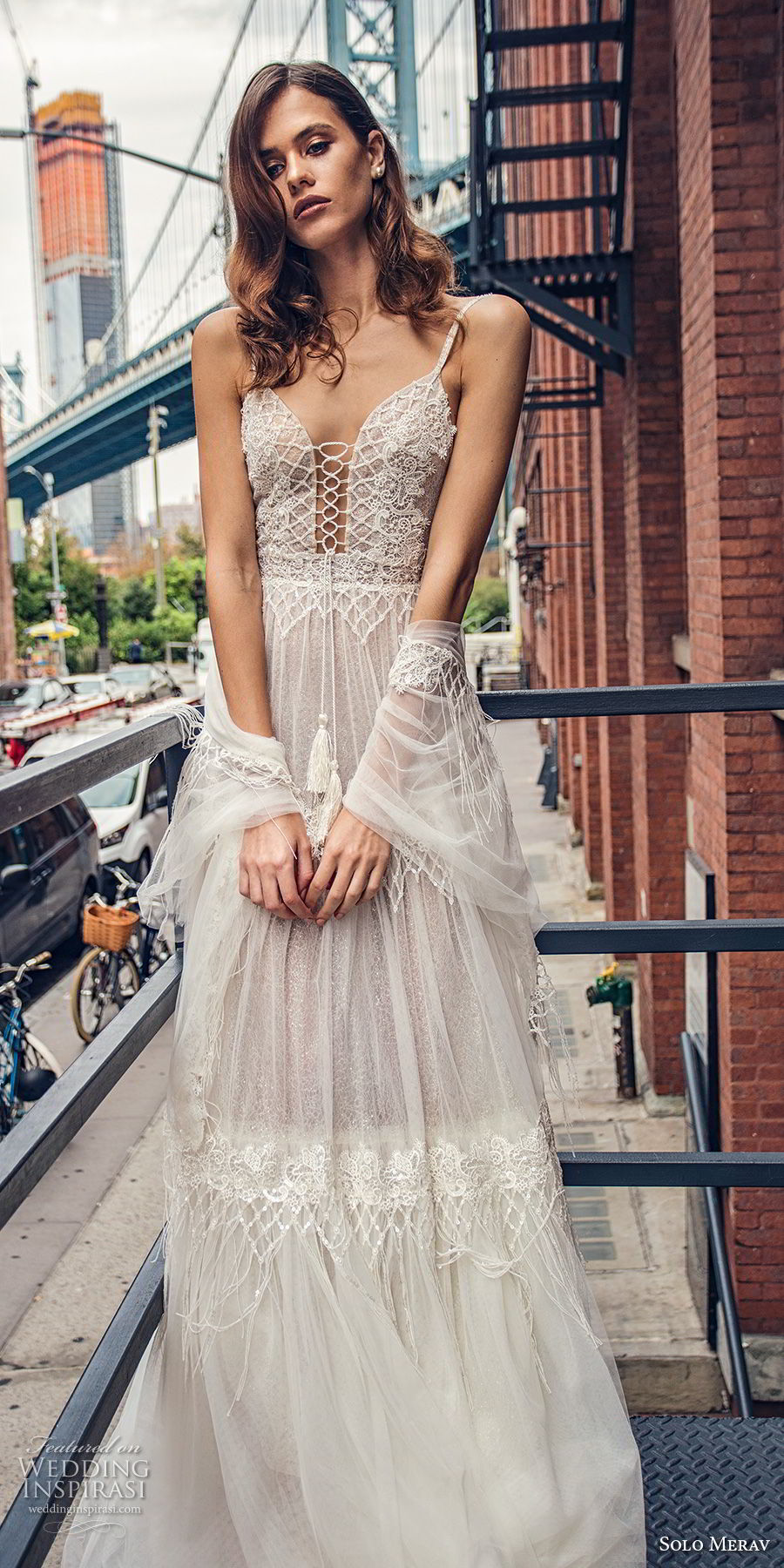 solo merav 2018 bridal sleeveless thin strap deep plunging sweetheart neckline heavily embellished bodice romantic bohemian soft a  line wedding dress open back chapel train (4) mv