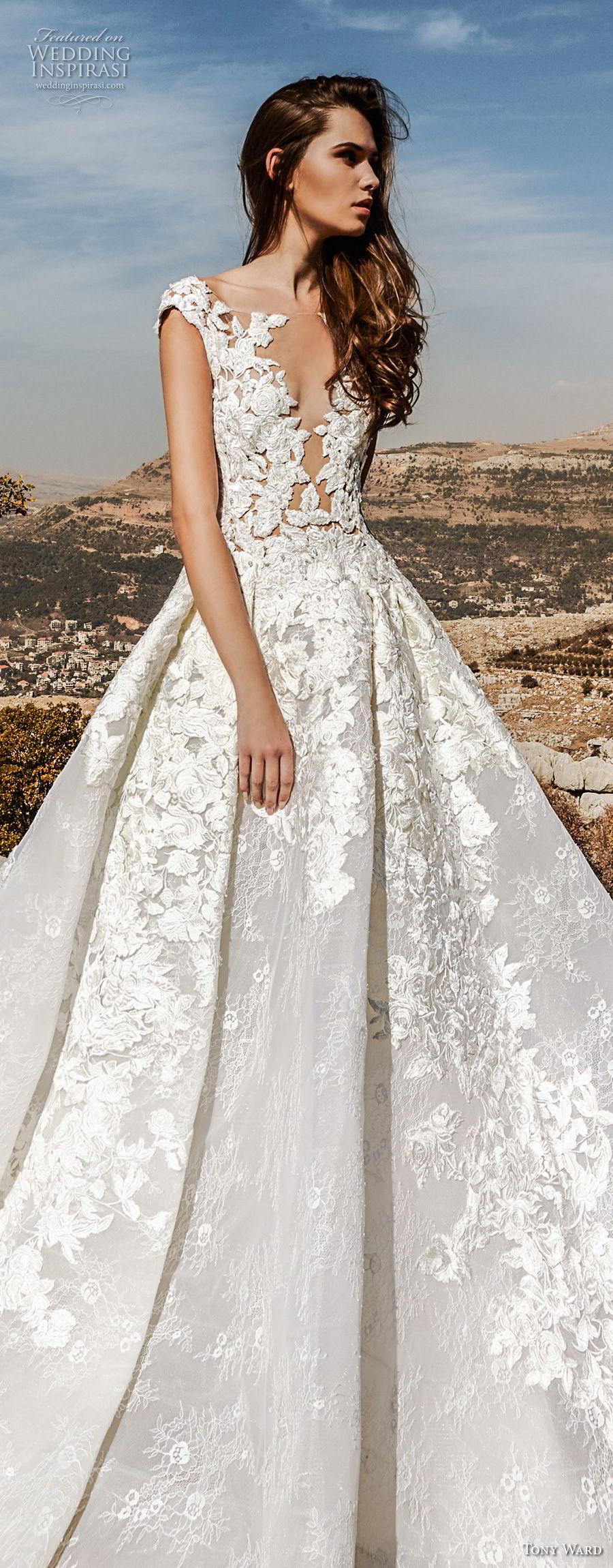 tony ward fall 2018 bridal cap sleeves illusion bateau deep v neck heavily embellished bodice princess a  line wedding dress sweep train (8) lv