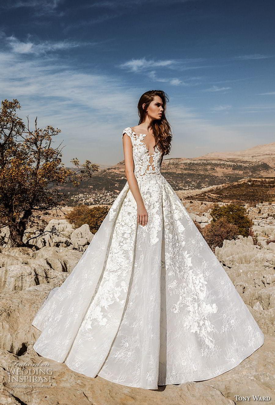 tony ward fall 2018 bridal cap sleeves illusion bateau deep v neck heavily embellished bodice princess a  line wedding dress sweep train (8) mv