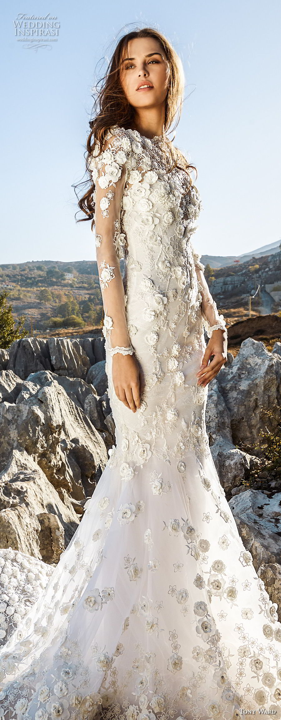 tony ward fall 2018 bridal long sleeves bateau neck full embellishment romantic elegant fit and flare trumpet wedding dress chapel train (15) lv