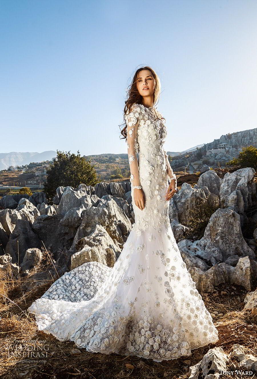 tony ward fall 2018 bridal long sleeves bateau neck full embellishment romantic elegant fit and flare trumpet wedding dress chapel train (15) mv