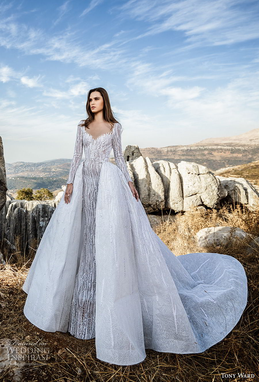 tony ward fall 2018 bridal long sleeves sweetheart neckline full embellishment elegant fit and flare wedding dress with a  line overskirt sweep train (3) mv