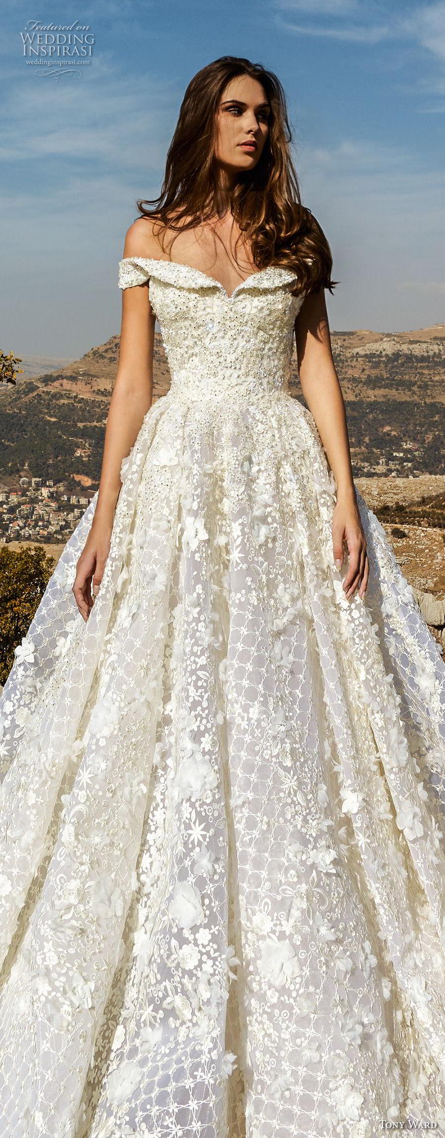 tony ward fall 2018 bridal off the shoulder semi sweetheart neckline full embellishment romantic glamorous a  line wedding dress (7) lv