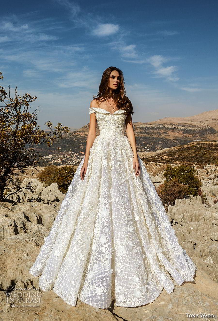 tony ward fall 2018 bridal off the shoulder semi sweetheart neckline full embellishment romantic glamorous a line wedding dress (7) mv