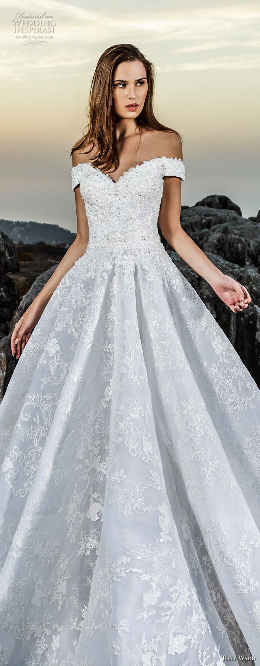 tony ward fall 2018 bridal off the shoulder sweetheart neckline full embellishment romantic a  line wedding dress (10) lv
