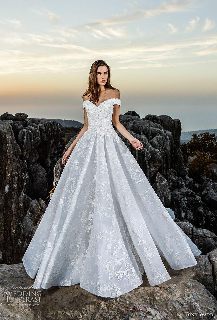 tony ward fall 2018 bridal off the shoulder sweetheart neckline full embellishment romantic a  line wedding dress (10) mv
