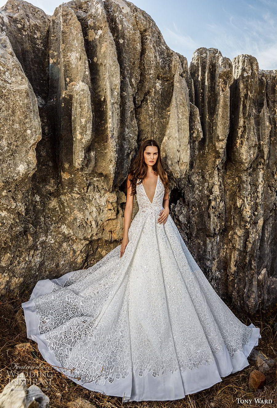 tony ward fall 2018 bridal sleeveless deep v neck full embellishment romantic a  line wedding dress (17) mv