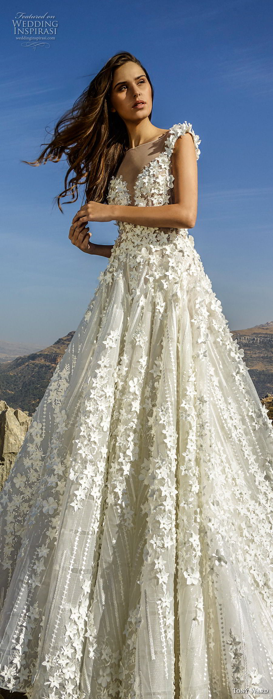 tony ward fall 2018 bridal sleeveless illusion bateau deep plunging sweetheart neckline full embellishment romantic a  line wedding dress (18) lv