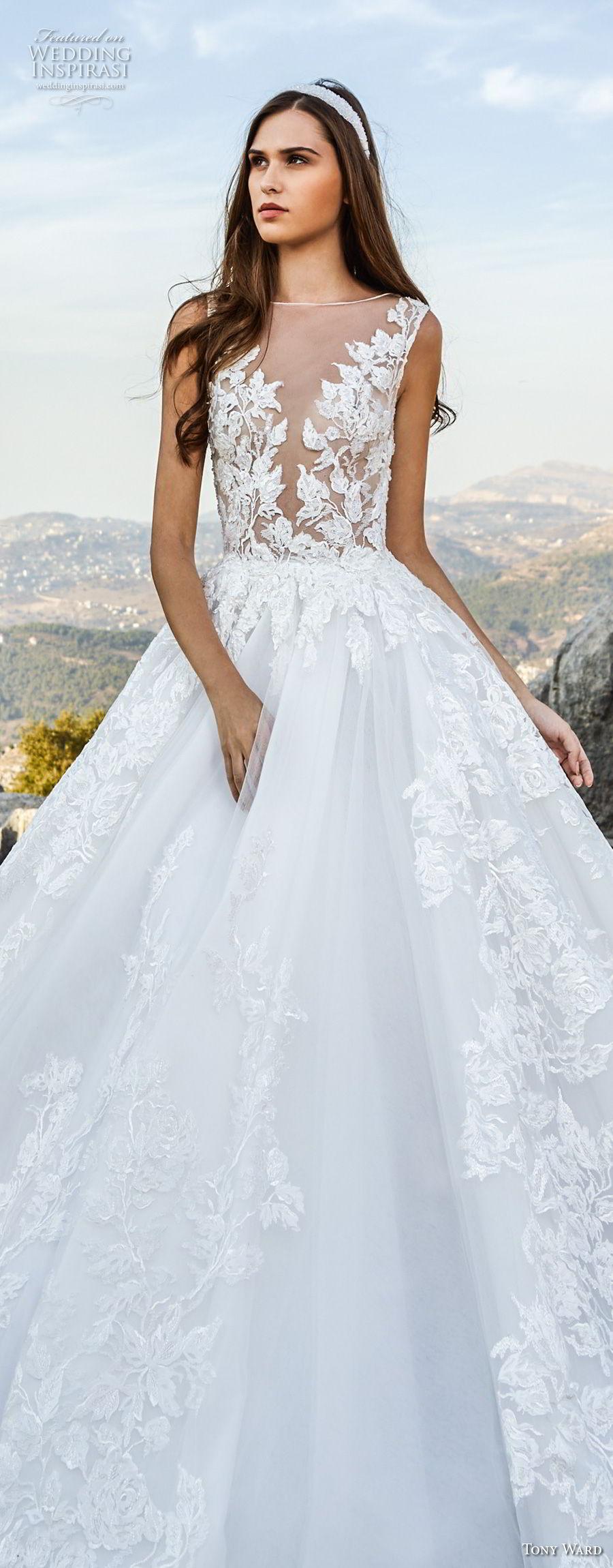 tony ward fall 2018 bridal sleeveless illusion bateau deep v neck heavily embellished bodice romantic a  line wedding dress (14) lv