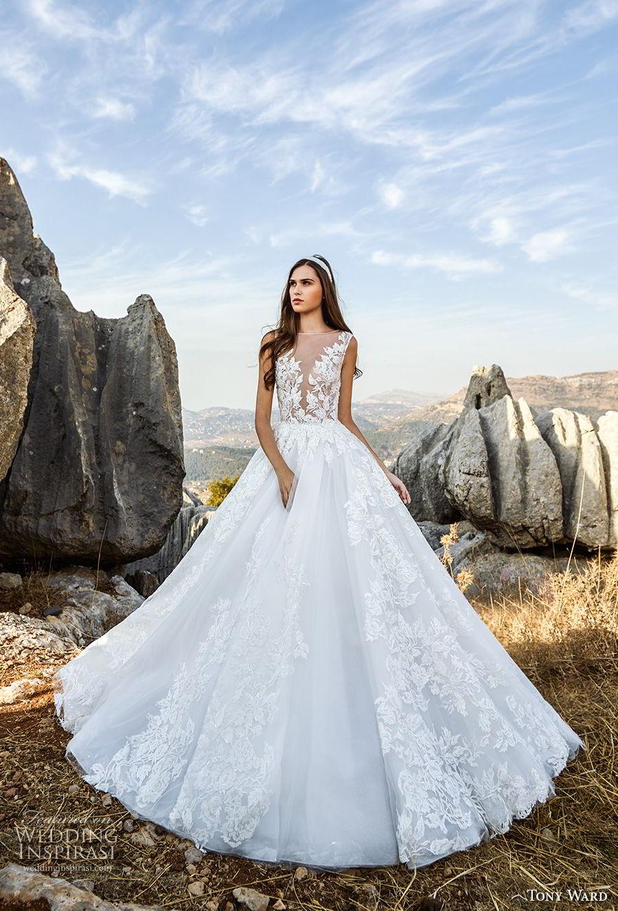 tony ward fall 2018 bridal sleeveless illusion bateau deep v neck heavily embellished bodice romantic a  line wedding dress (14) mv