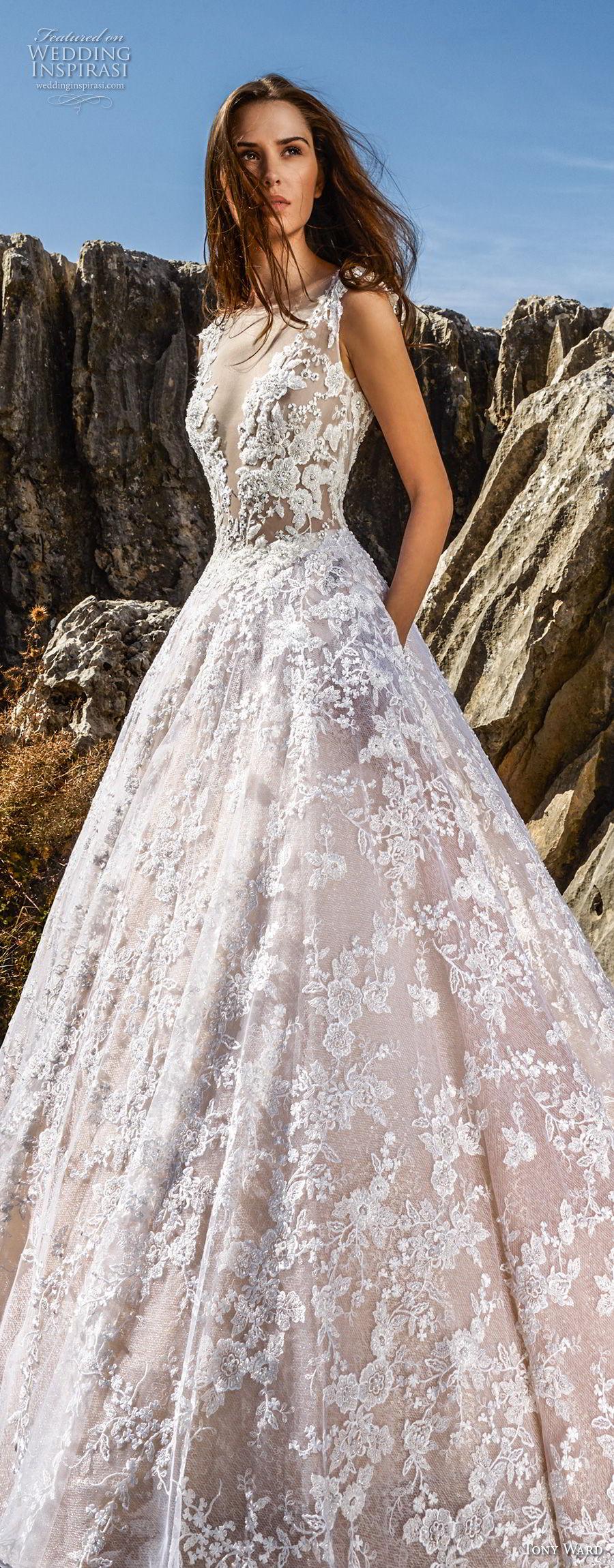 tony ward fall 2018 bridal sleeveless illusion bateau deep v neckline full embellishment romantic blush a  line wedding dress with pockets sweep train (5) lv