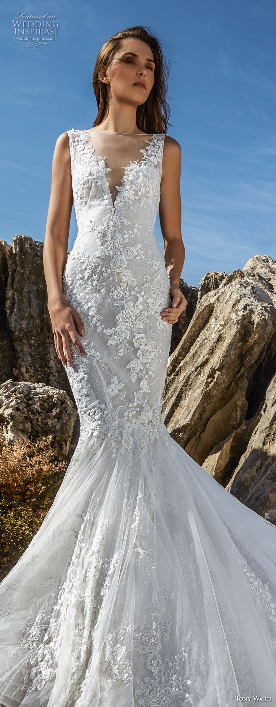tony ward fall 2018 bridal sleeveless illusion bateau v neck heavily embellished bodice elegant mermaid wedding dress chapel train (13) lv