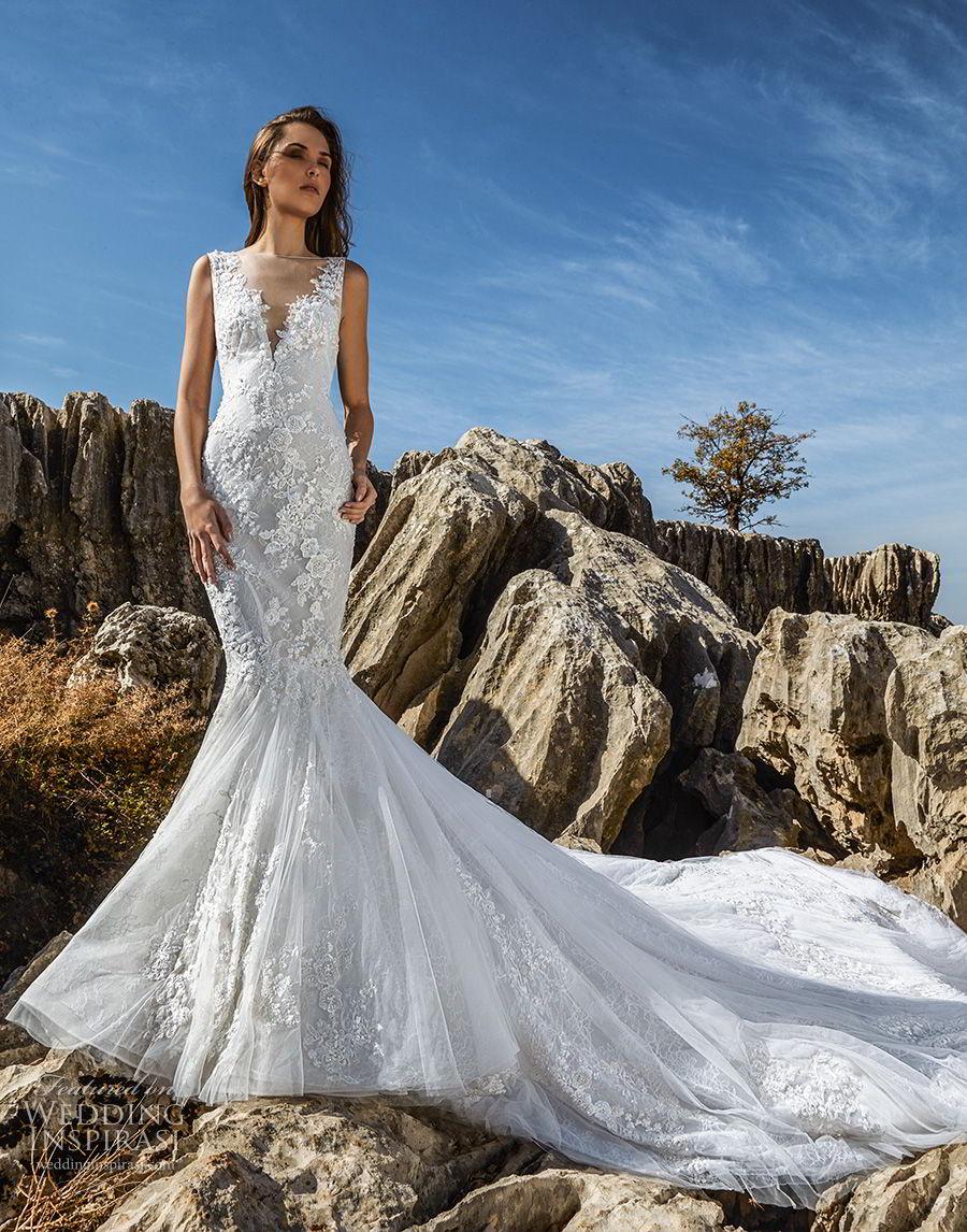 tony ward fall 2018 bridal sleeveless illusion bateau v neck heavily embellished bodice elegant mermaid wedding dress chapel train (13) mv