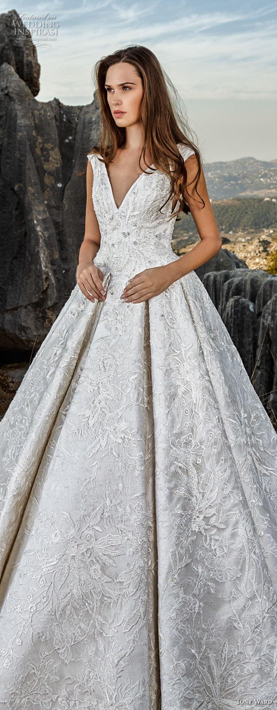 tony ward fall 2018 bridal sleeveless v neck full embellishment princess glamorous a  line wedding dress sweep train (4) lv