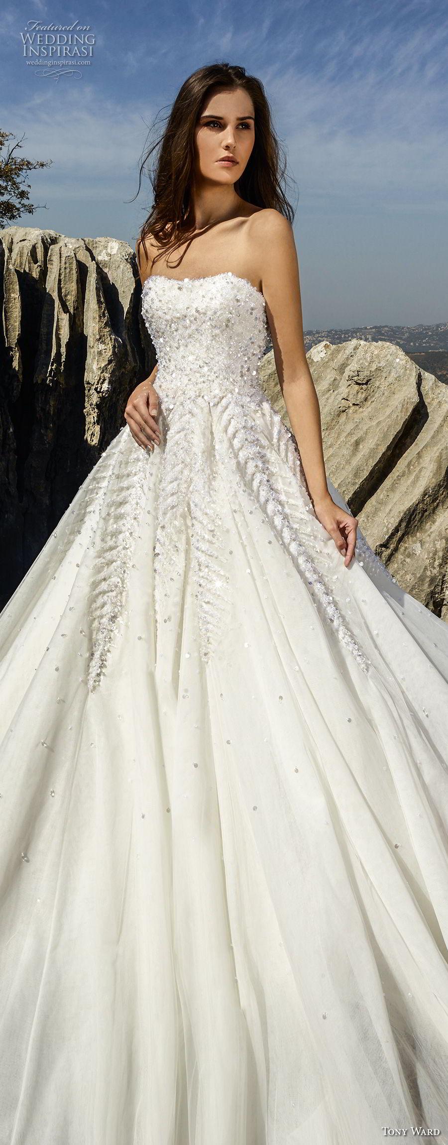 tony ward fall 2018 bridal strapless semi sweetheart neckline heavily embellished bodice romantic a  line wedding dress (9) lv