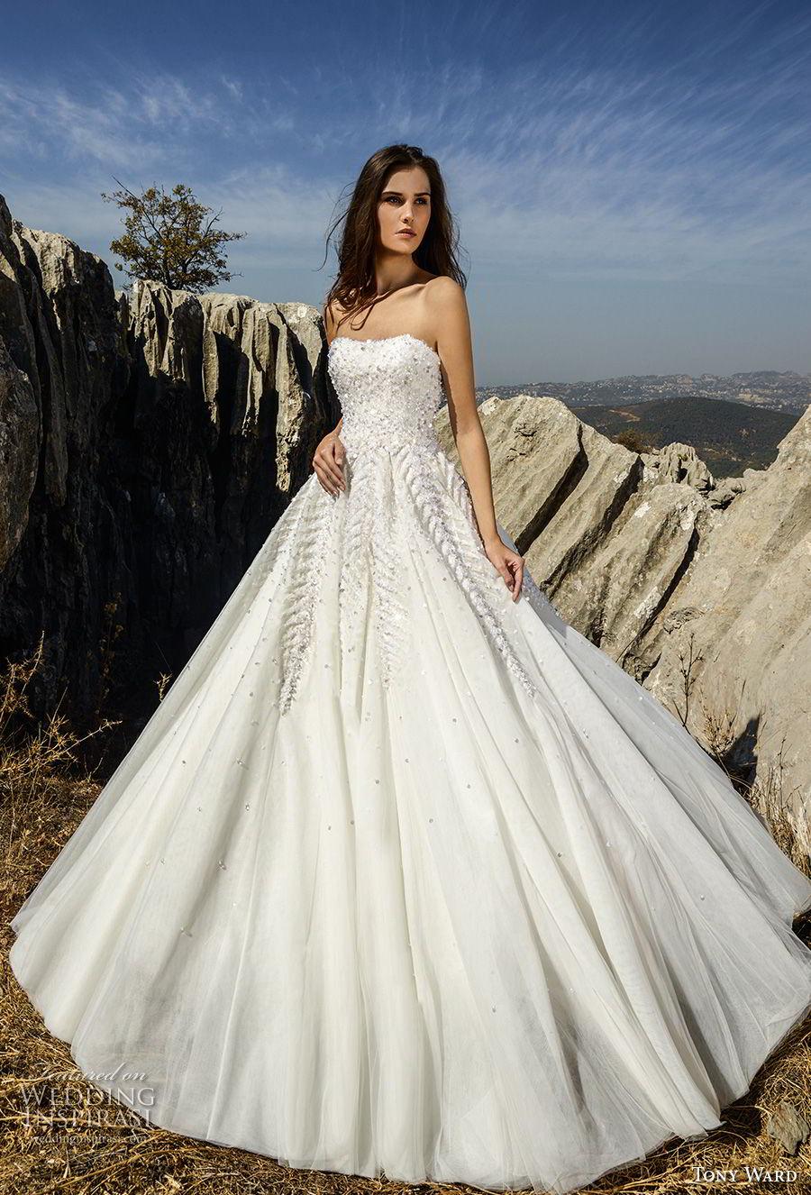 tony ward fall 2018 bridal strapless semi sweetheart neckline heavily embellished bodice romantic a  line wedding dress (9) mv