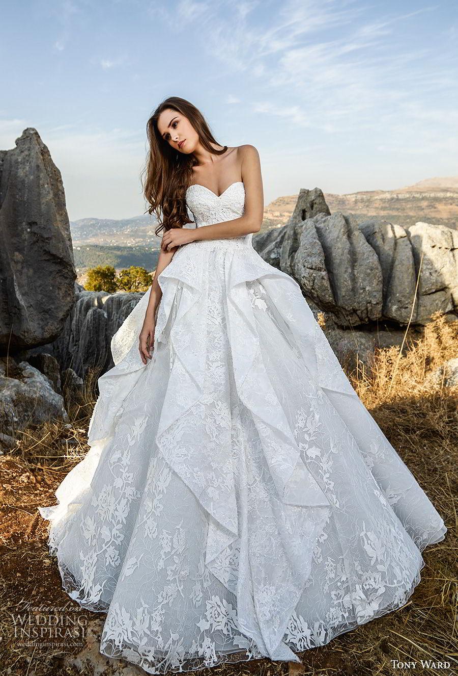 tony ward fall 2018 bridal strapless sweetheart neckline full embellishment peplum romantic a  line wedding dress (12) mv