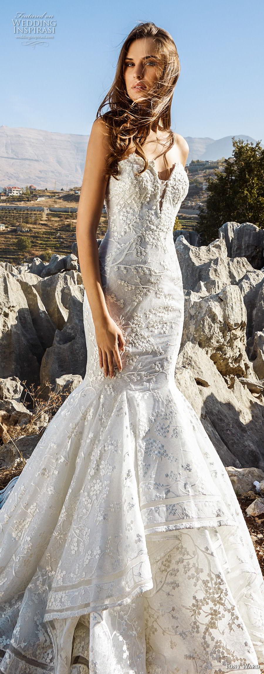 tony ward fall 2018 bridal strapless sweetheart neckline full embellishment romantic mermaid wedding dress chapel train (16) lv