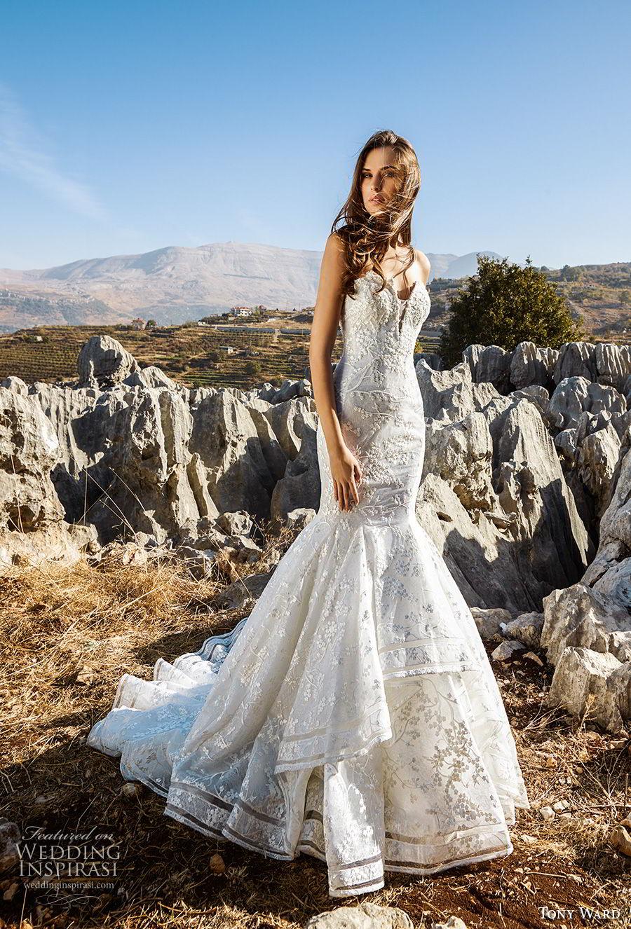 tony ward fall 2018 bridal strapless sweetheart neckline full embellishment romantic mermaid wedding dress chapel train (16) mv