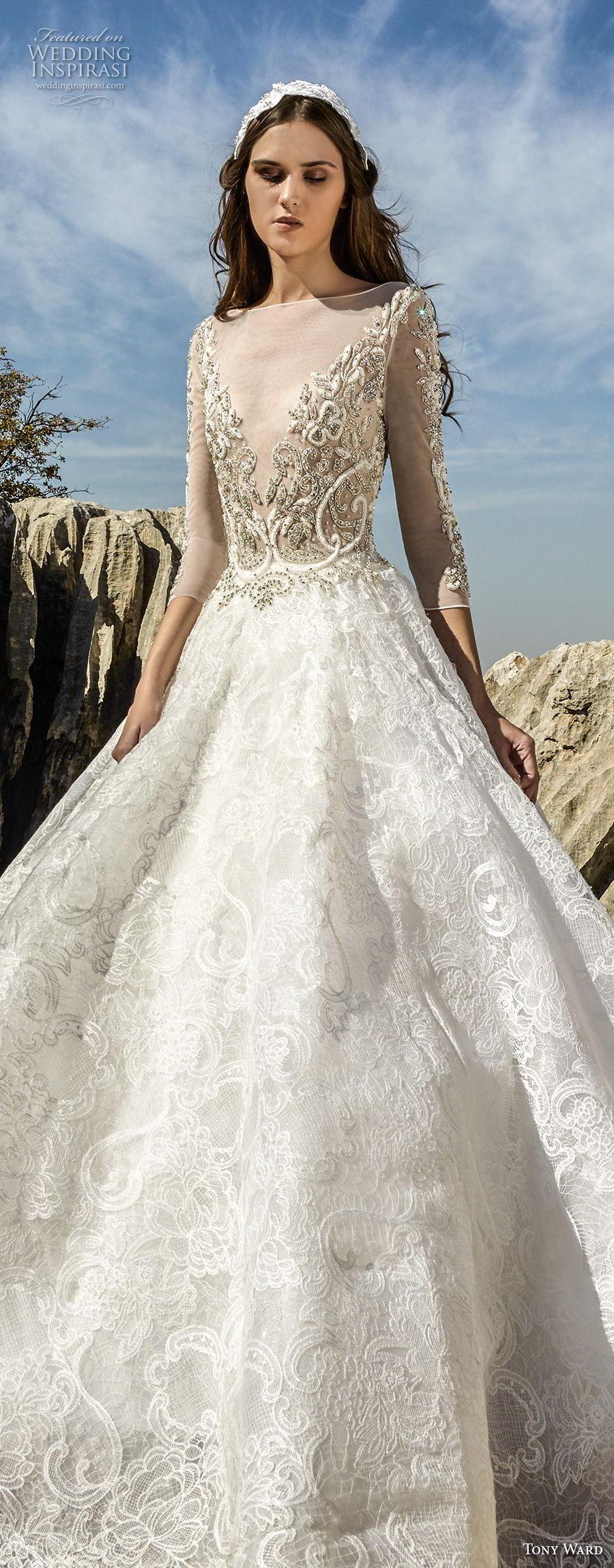 tony ward fall 2018 bridal three quarter sleeves illusion bateau v neck heavily embellished bodice princess a  line wedding dress (11) lv
