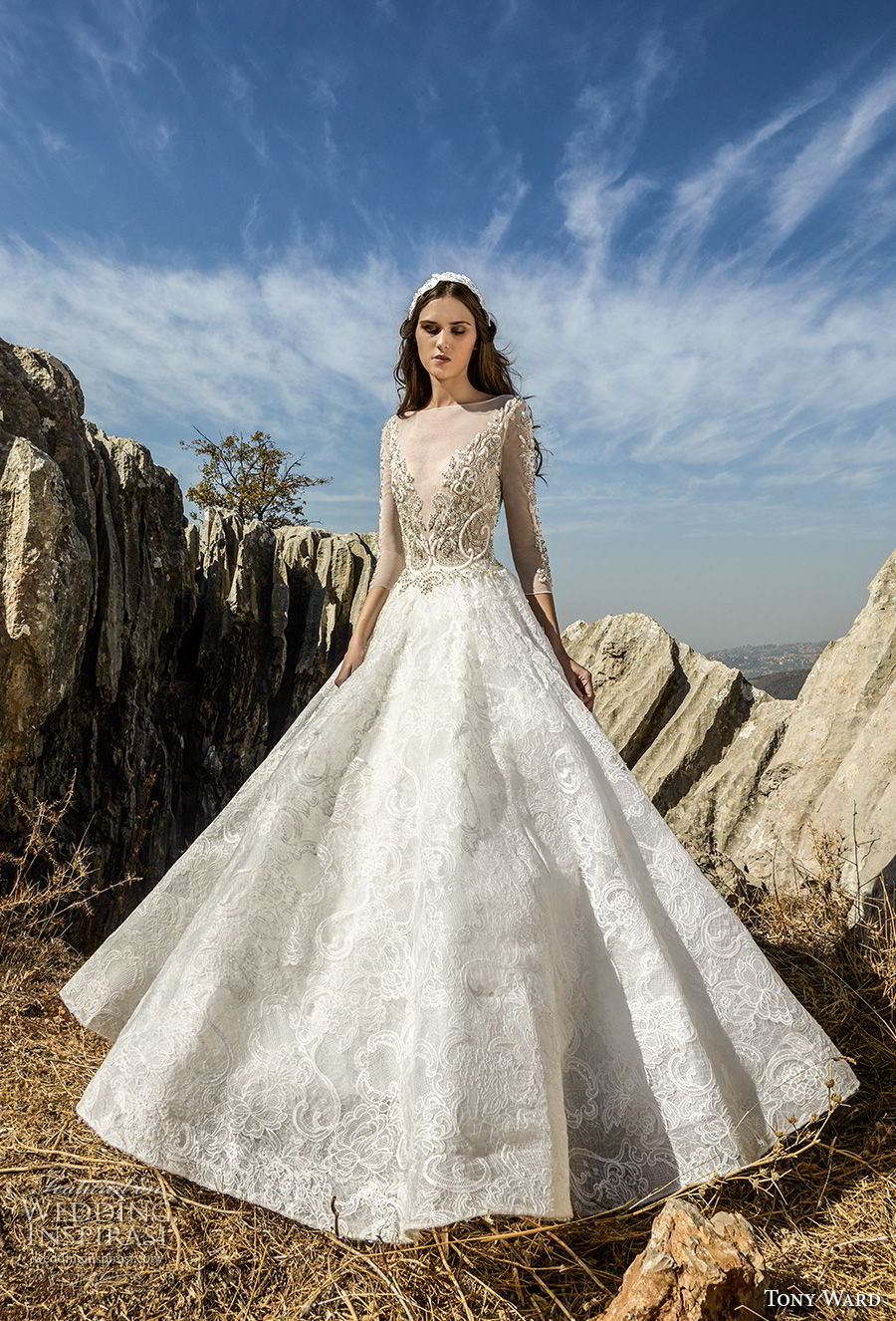 tony ward fall 2018 bridal three quarter sleeves illusion bateau v neck heavily embellished bodice princess a  line wedding dress (11) mv