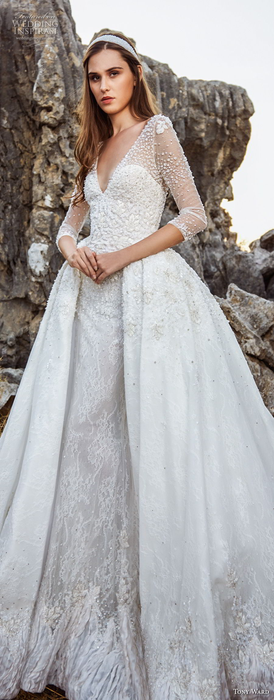 tony ward fall 2018 bridal three quarter sleeves v neck heavily embellished bodice romantic princess ball gown a  line wedding dress overskirt chapel train (2) lv