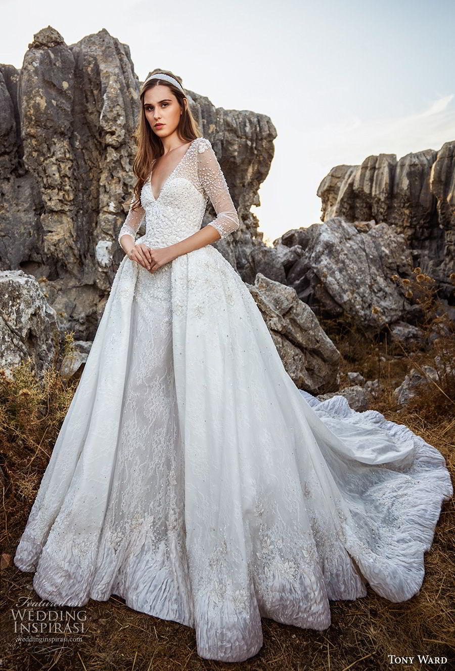 tony ward fall 2018 bridal three quarter sleeves v neck heavily embellished bodice romantic princess ball gown a  line wedding dress overskirt chapel train (2) mv