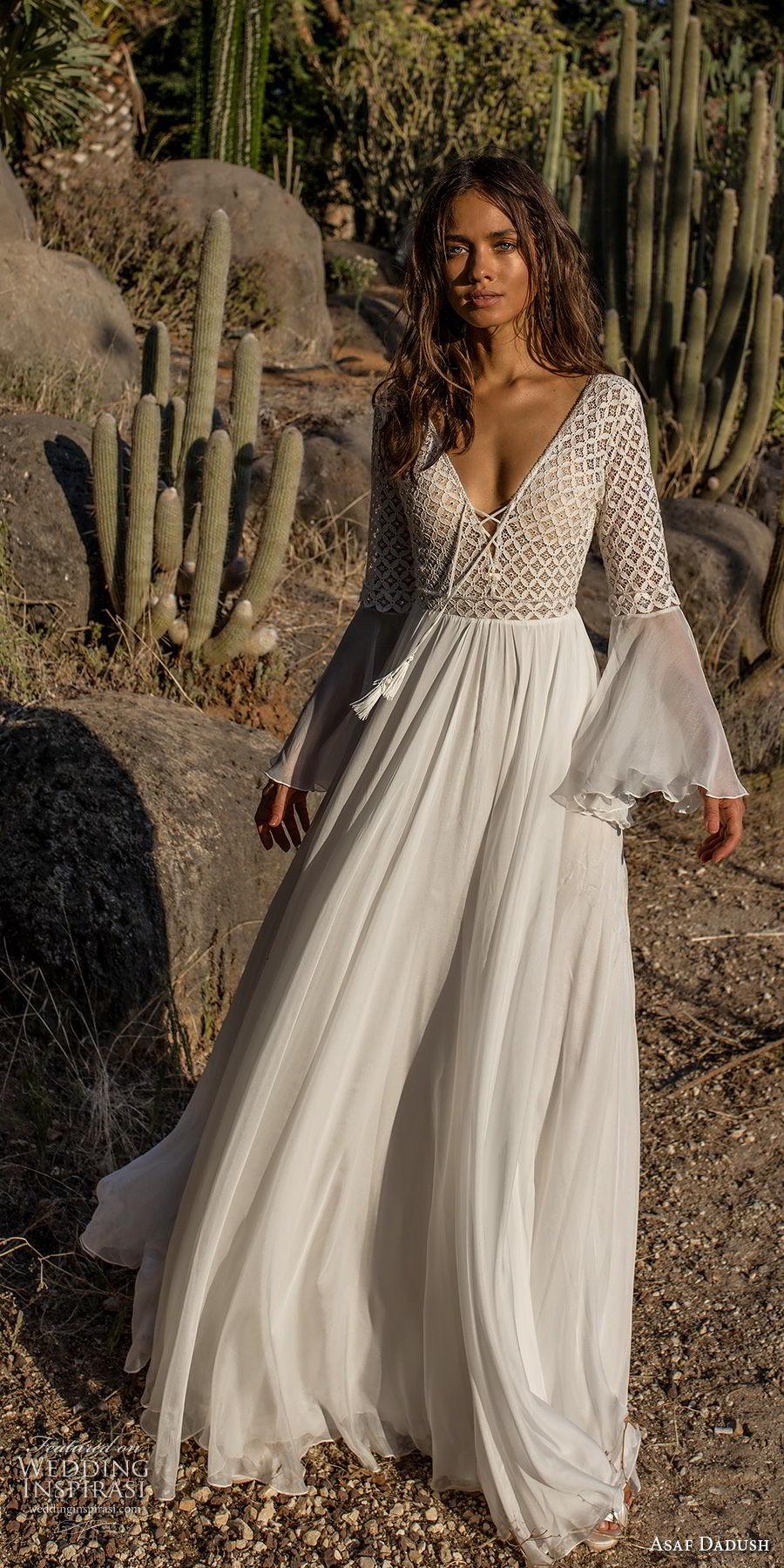 asaf dadush 2018 bridal long lantern sleeves deep v neckline heavily embellished bodice romantic bohemian soft a  line wedding dress open back sweep train (2) mv