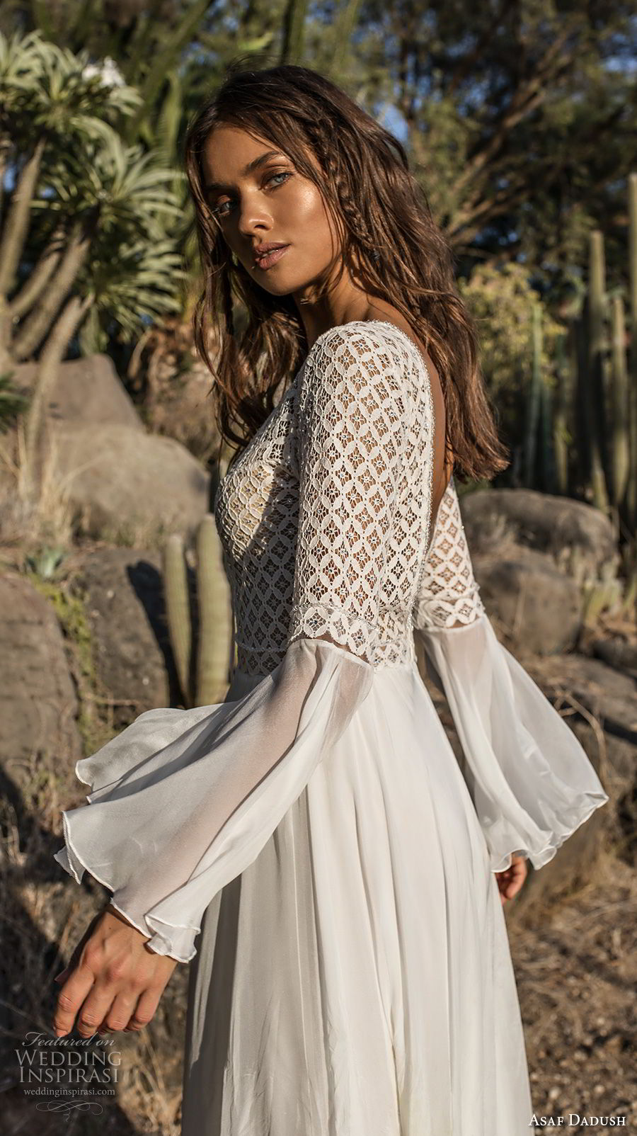 asaf dadush 2018 bridal long lantern sleeves deep v neckline heavily embellished bodice romantic bohemian soft a  line wedding dress open back sweep train (2) sdv