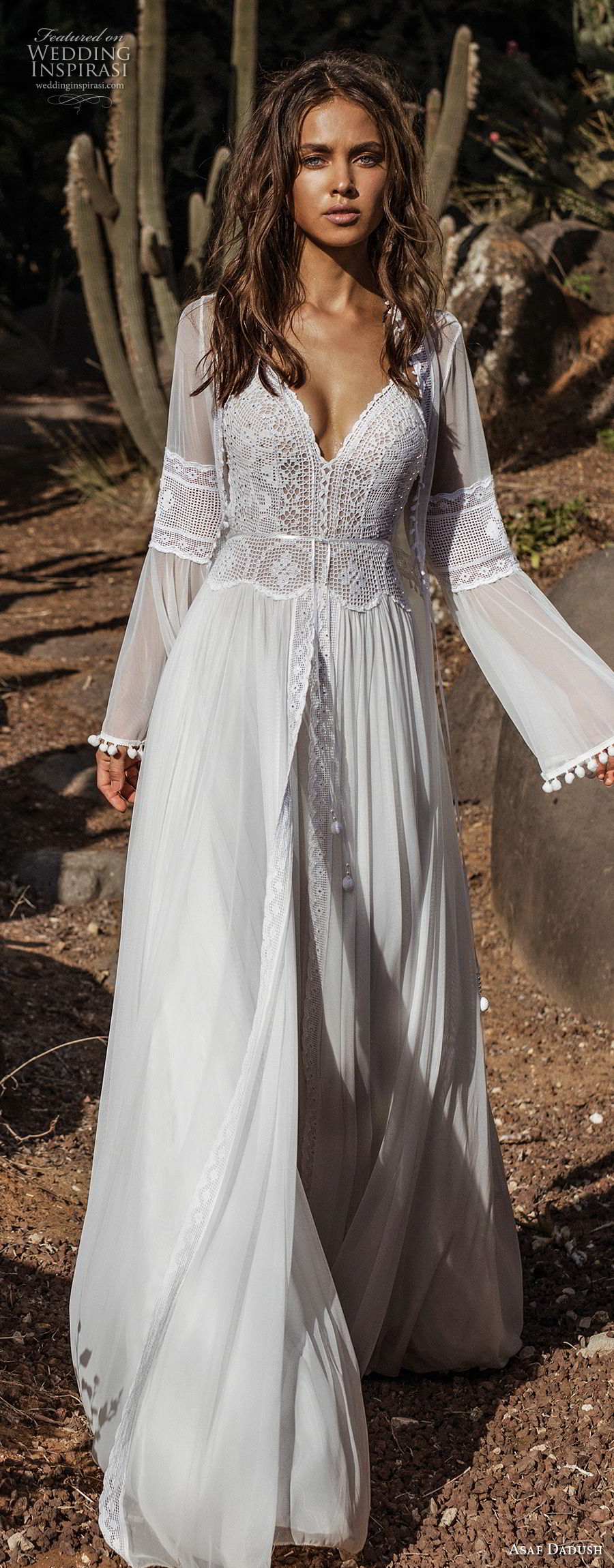 asaf dadush 2018 bridal long lantern sleeves thin strap sweetheart neckline heavily embellished bodice romantic bohemian soft a line wedding dress sweep train (1) mv lv