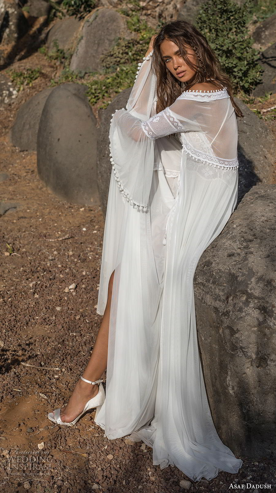 asaf dadush 2018 bridal long lantern sleeves thin strap sweetheart neckline heavily embellished bodice romantic bohemian soft a  line wedding dress sweep train (1) sdv