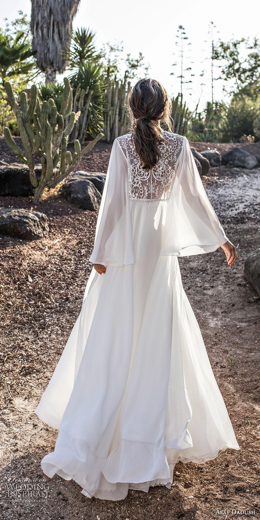 asaf dadush 2018 bridal long sleeves deep plunging sweetheart neckline heavily embellished bodice high slit skirt soft a  line wedding dress covered lace back sweep train (4) bv