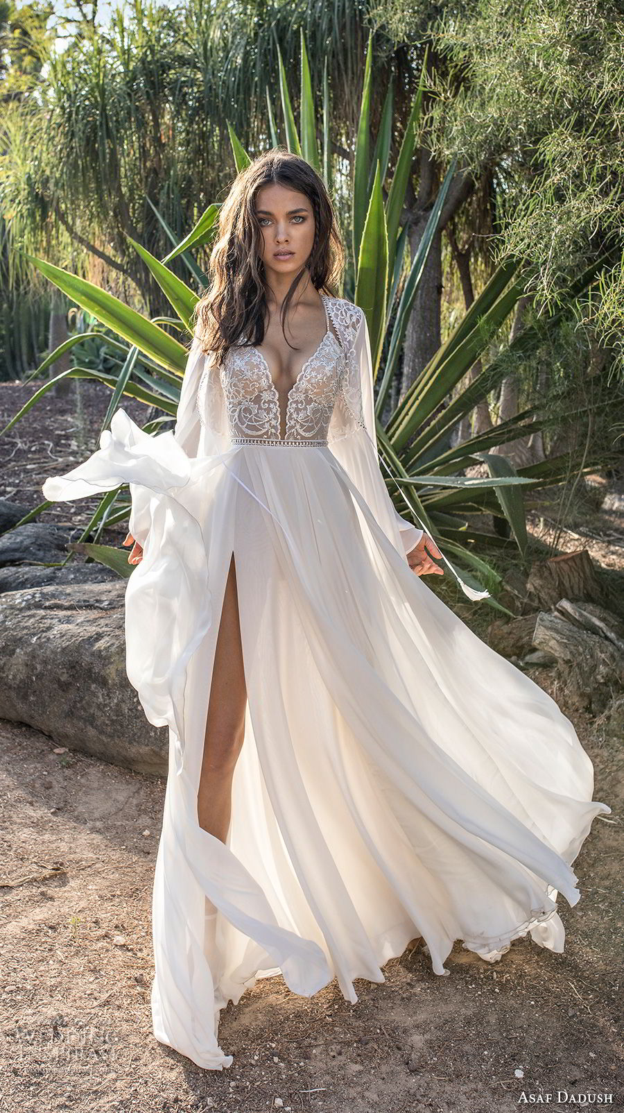 asaf dadush 2018 bridal long sleeves deep plunging sweetheart neckline heavily embellished bodice high slit skirt soft a line wedding dress covered lace back sweep train (4) mv