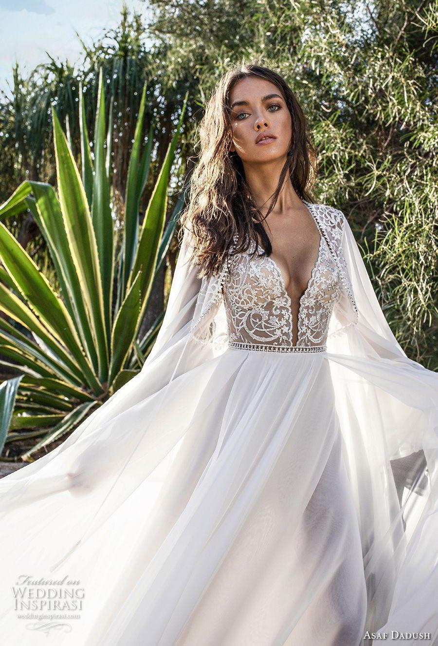 asaf dadush 2018 bridal long sleeves deep plunging sweetheart neckline heavily embellished bodice high slit skirt soft a  line wedding dress covered lace back sweep train (4) zv