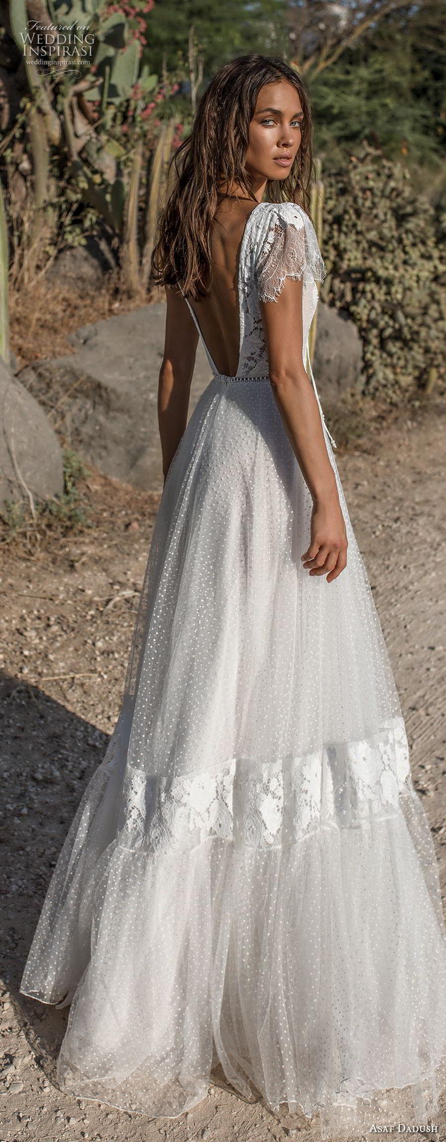 asaf dadush 2018 bridal short butterfly sleeves deep v neck heavily embellished bodice bohemian a  line wedding dress low open back sweep train (7) bv