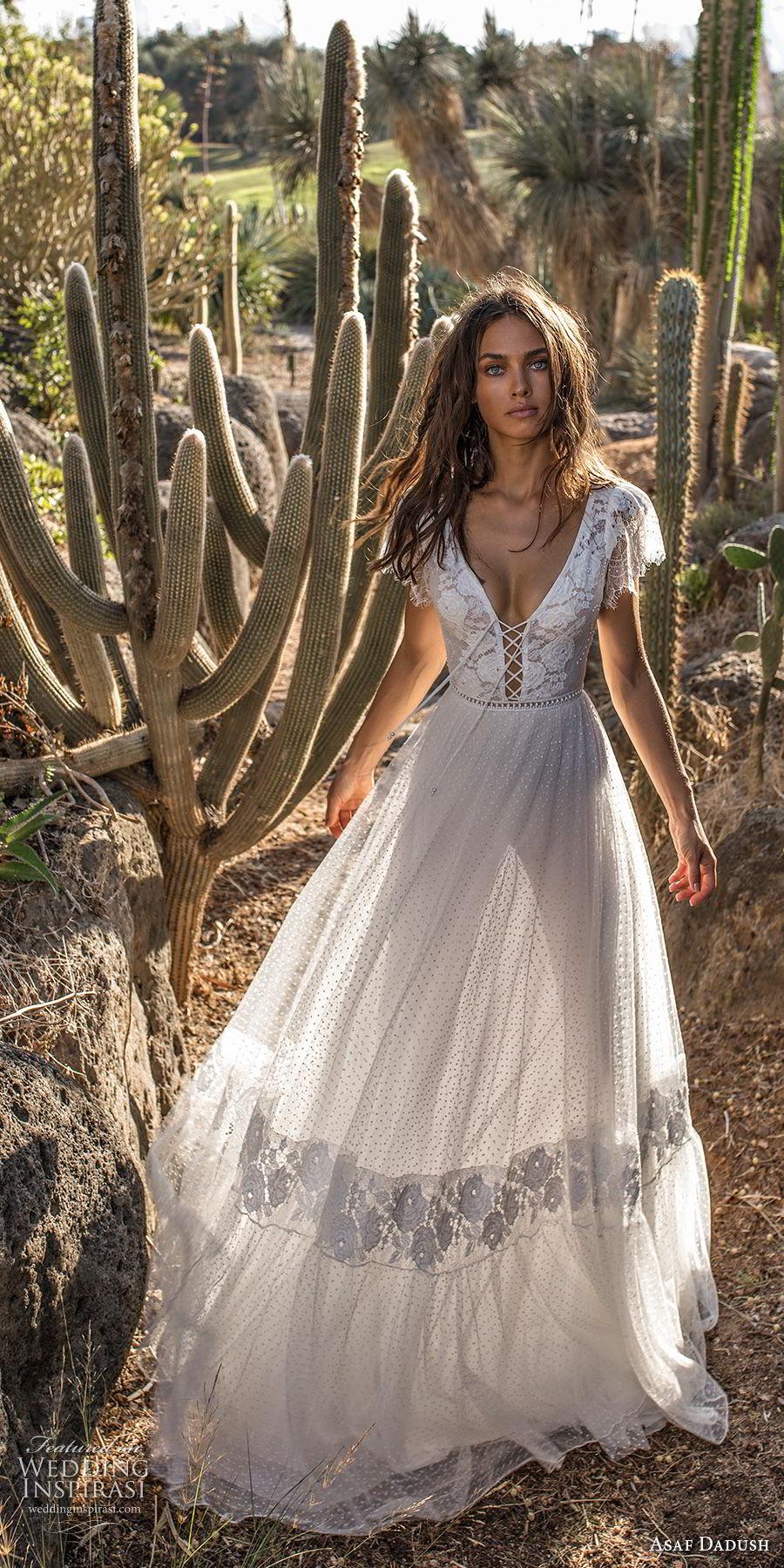 asaf dadush 2018 bridal short butterfly sleeves deep v neck heavily embellished bodice bohemian a  line wedding dress low open back sweep train (7) mv