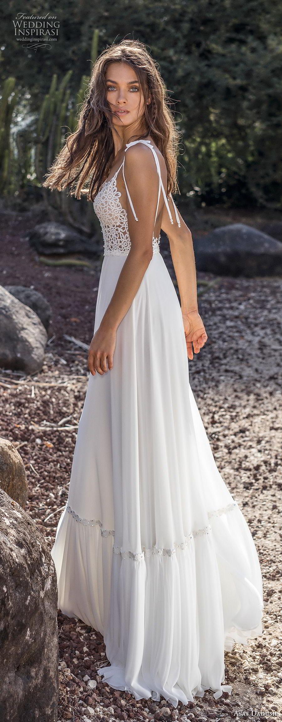 asaf dadush 2018 bridal sleeveless spaghetti strap deep plunging sweetheart neckline heavily embellished bodice bohemian a  line wedding dress open back sweep train (8) sdv