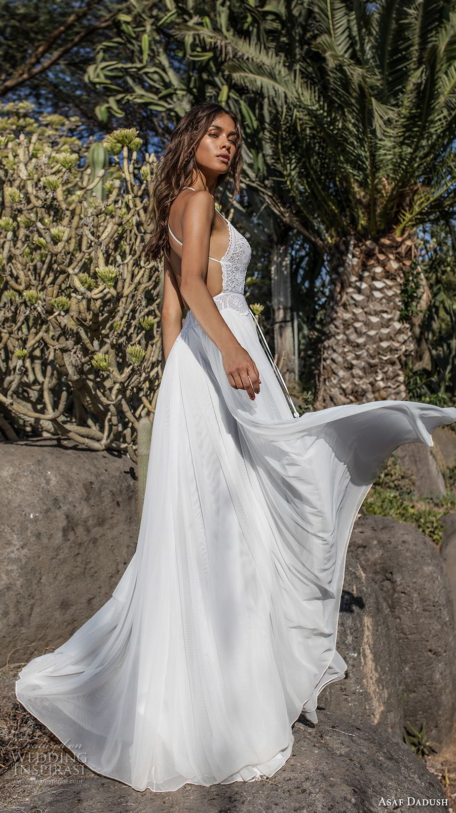 asaf dadush 2018 bridal sleeveless thin strap sweetheart neckline heavily embellished bodice romantic bohemian soft a  line wedding dress open strap back sweep train (1) bv