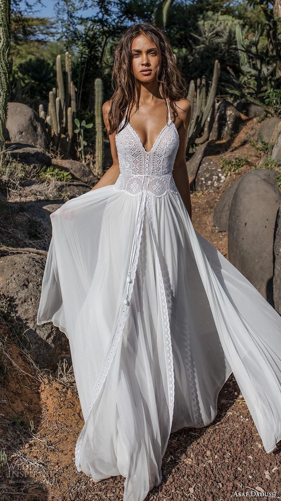 asaf dadush 2018 bridal sleeveless thin strap sweetheart neckline heavily embellished bodice romantic bohemian soft a  line wedding dress open strap back sweep train (1) mv