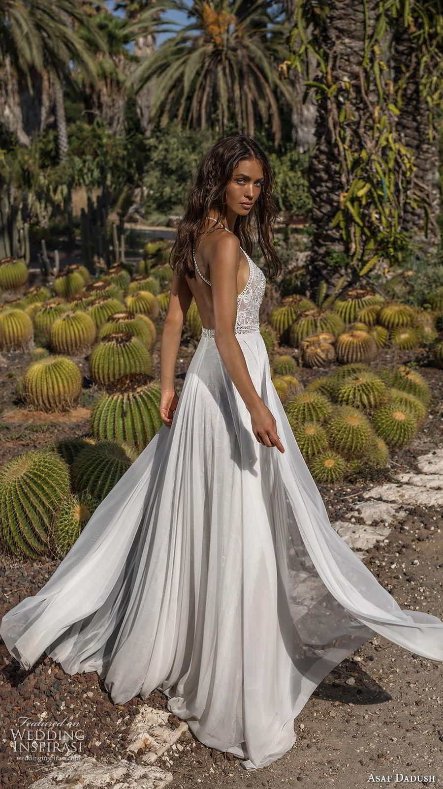 asaf dadush 2018 bridal sleevless halter jswel neck heavily embellished bodice double slit skirt romantic soft a  line wedding dress open back sweep train (11) bv