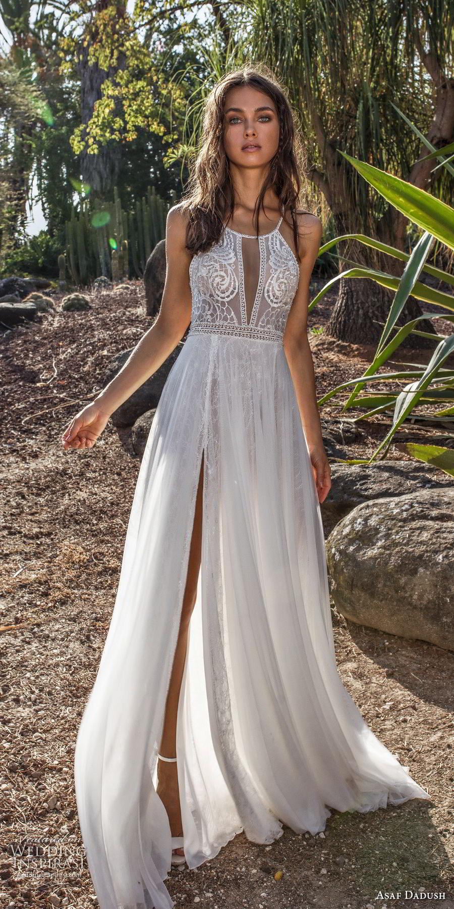 asaf dadush 2018 bridal sleevless halter jswel neck heavily embellished bodice double slit skirt romantic soft a  line wedding dress open back sweep train (11) mv