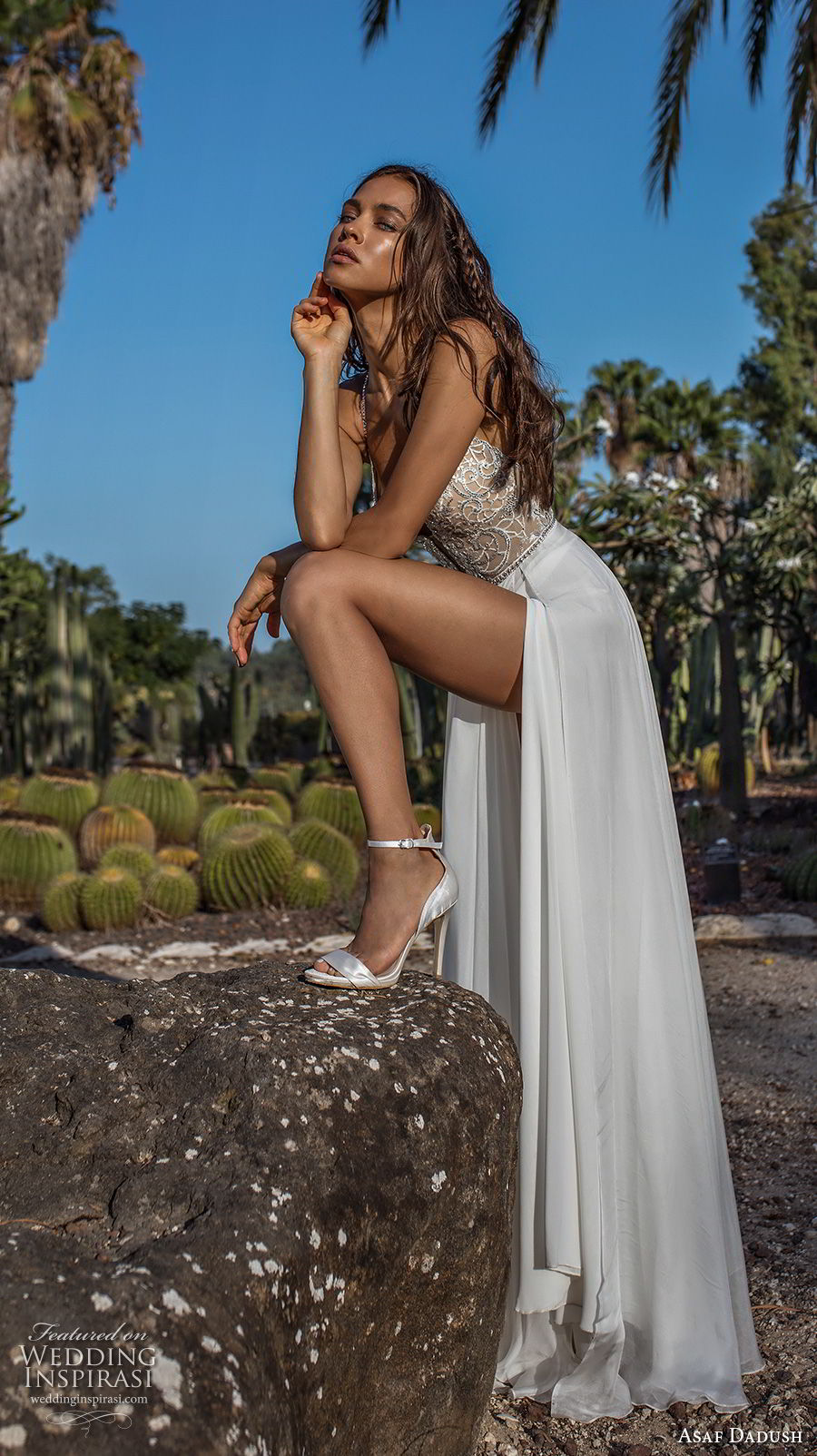 asaf dadush 2018 bridal spaghetti strap deep plunging sweetheart neckline heavily embellised bodice double slit slirt romantic soft a  line wedding dress open strap back sweep train (10) sdv