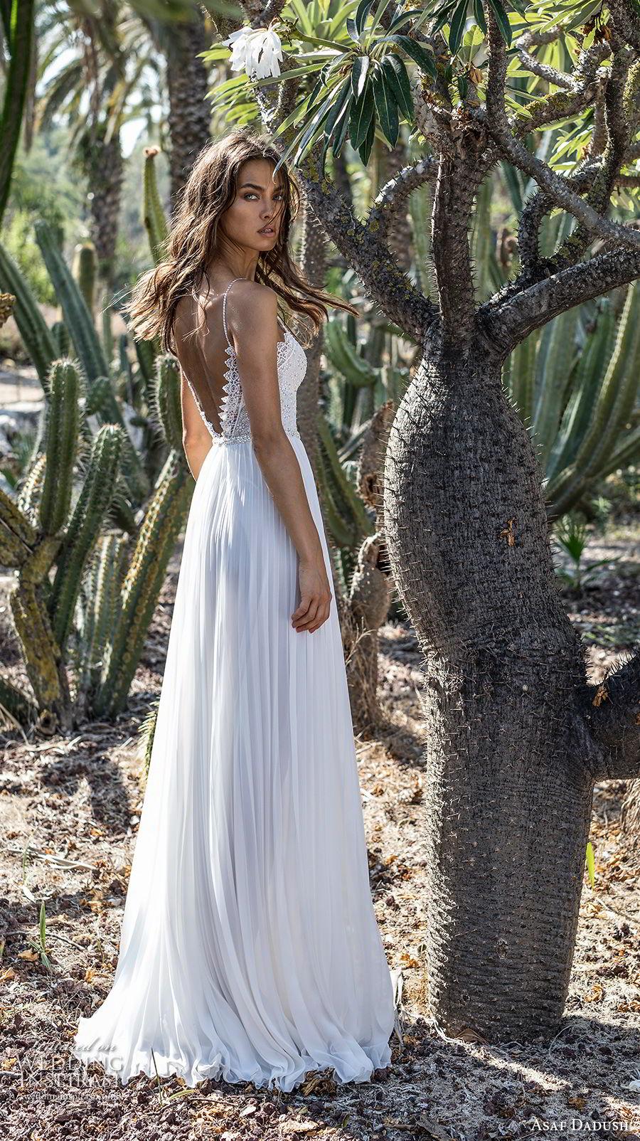 asaf dadush 2018 bridal spaghetti strap sweetheart neckline heavily embellished bodice pleated skirt romantic soft a  line wedding dress open back sweep train (6) bv
